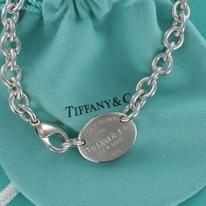 Return Tiffany Oval Tag Necklace Choker pouch bag
